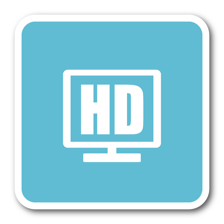 full screen: hd display blue square internet flat design icon
