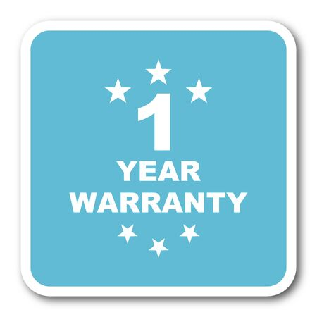 1 year: warranty guarantee 1 year blue square internet flat design icon
