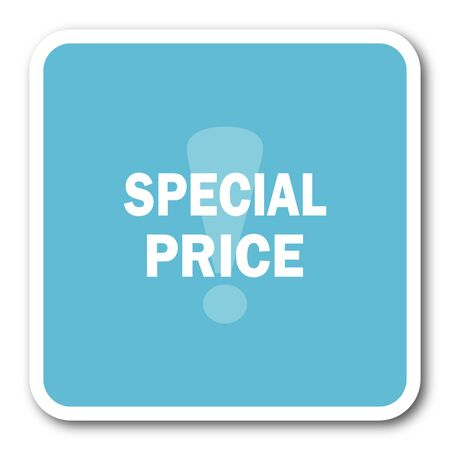 special price: special price blue square internet flat design icon