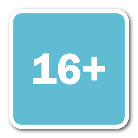 permitted: adults blue square internet flat design icon