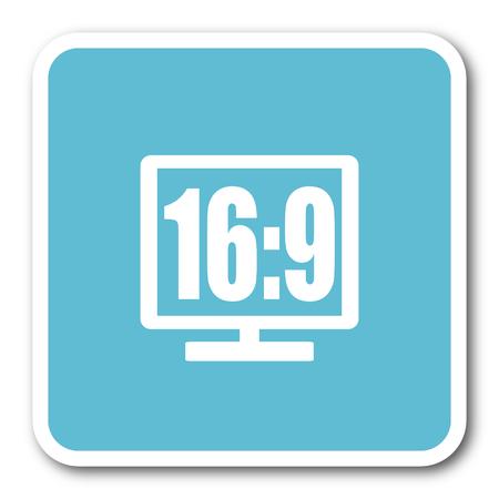 16 9: 16 9 display blue square internet flat design icon