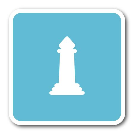king master: chess blue square internet flat design icon