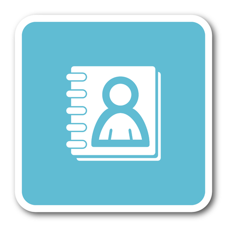 address book: address book blue square internet flat design icon