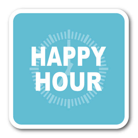 happy hour drink: happy hour blue square internet flat design icon