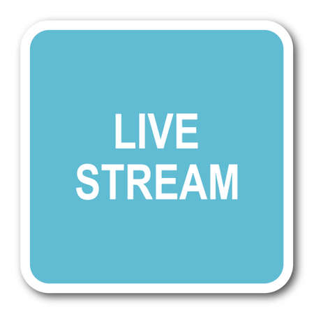 live stream: live stream blue square internet flat design icon Stock Photo