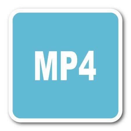 mp4: mp4 blue square internet flat design icon
