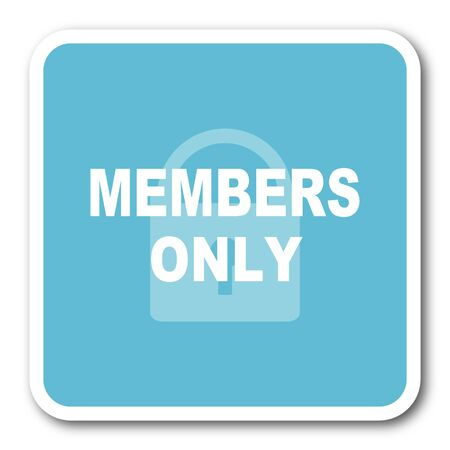 members only: members only blue square internet flat design icon Stock Photo