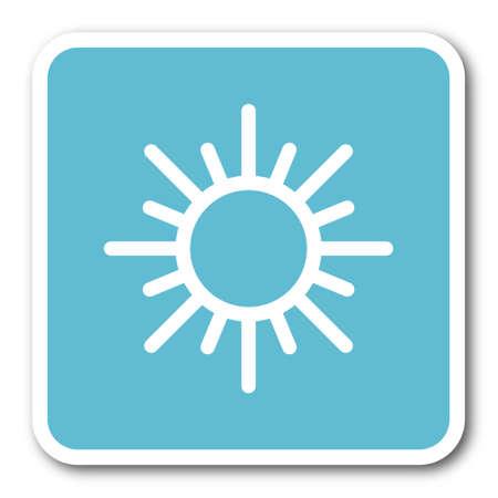 sun blue square internet flat design icon Stock Photo