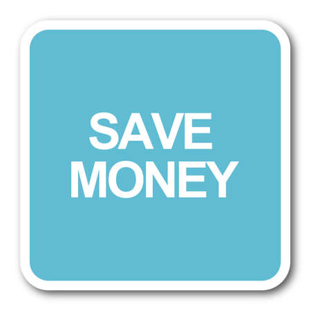 save money: save money blue square internet flat design icon Stock Photo