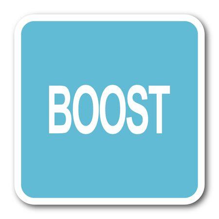 boost: boost blue square internet flat design icon Stock Photo