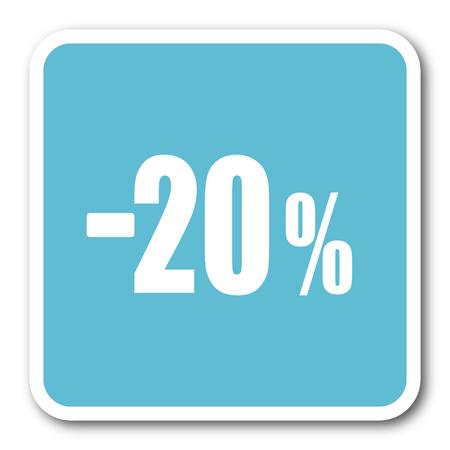 commission: 20 percent sale retail blue square internet flat design icon