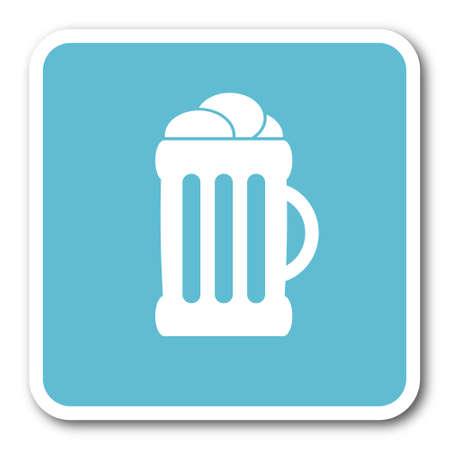 beer blue square internet flat design icon Stock Photo