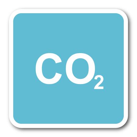 co2: carbon dioxide blue square internet flat design icon