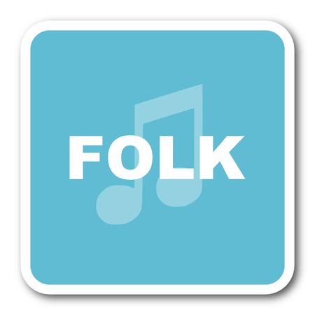 folk music: folk music blue square internet flat design icon Stock Photo