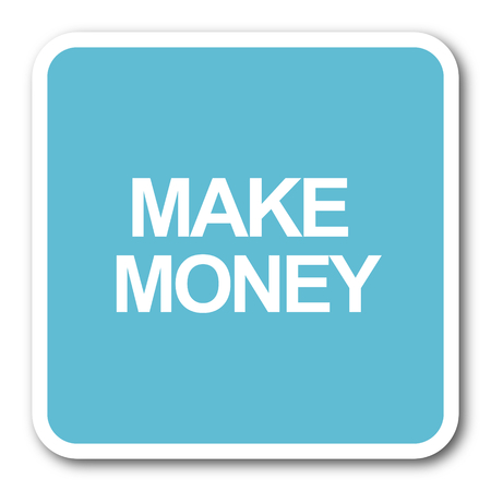 make money: make money blue square internet flat design icon