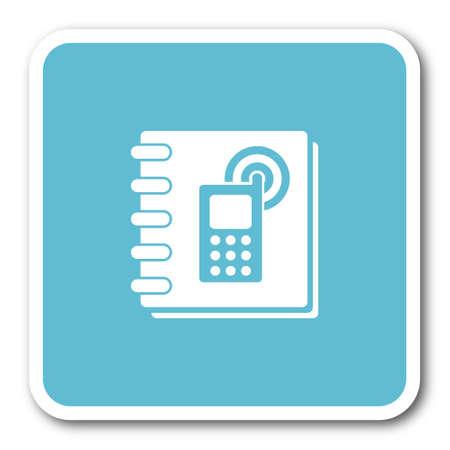 phonebook: phonebook blue square internet flat design icon
