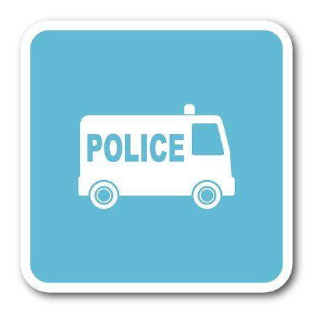 patrolman: police blue square internet flat design icon