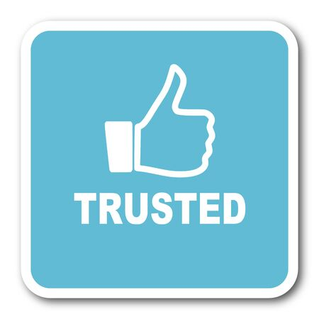 trusted: trusted blue square internet flat design icon