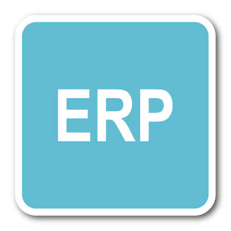 erp: erp blue square internet flat design icon