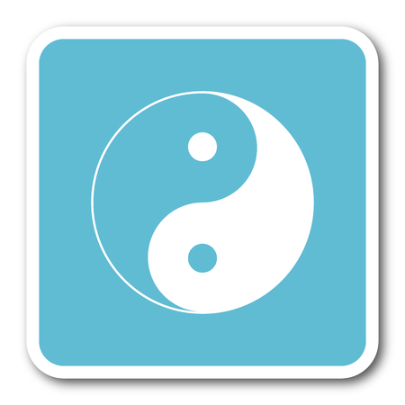 ying and yang: ying yang blue square internet flat design icon