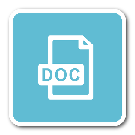 bibliography: doc file blue square internet flat design icon