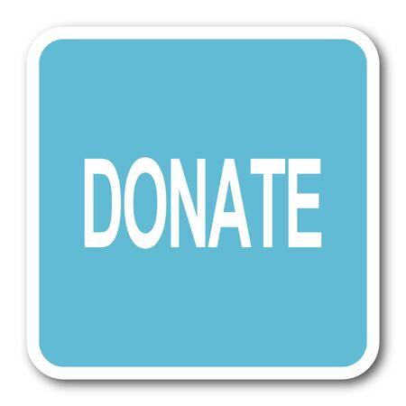 donate blue square internet flat design icon Stock Photo