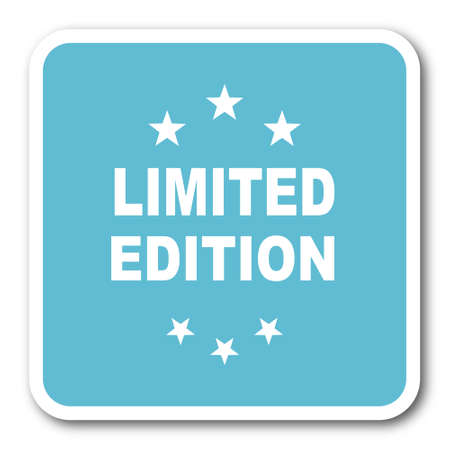 limited edition: limited edition blue square internet flat design icon Stock Photo