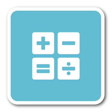 compute: calculator blue square internet flat design icon