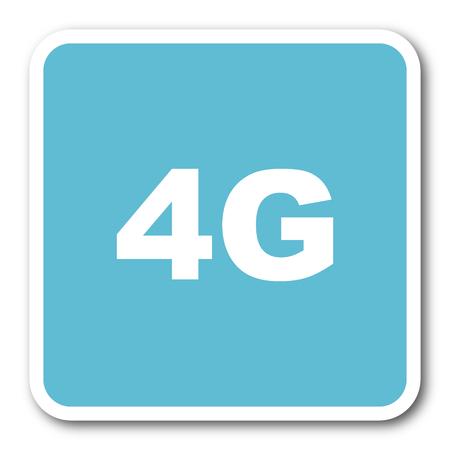 4g: 4g blue square internet flat design icon
