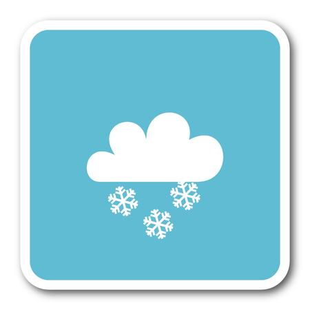 snowing: snowing blue square internet flat design icon