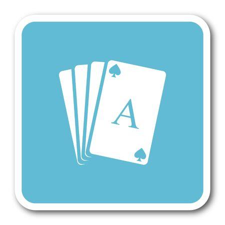picto: card blue square internet flat design icon