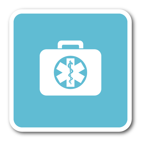 first aid kit key: rescue kit blue square internet flat design icon