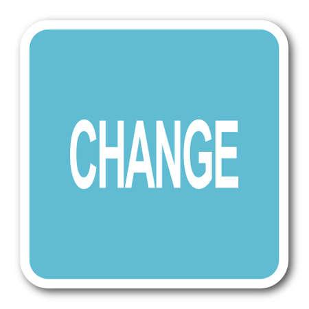 better icon: change blue square internet flat design icon