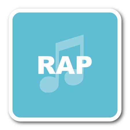 rap music: rap music blue square internet flat design icon