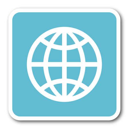 meridians: earth blue square internet flat design icon Stock Photo