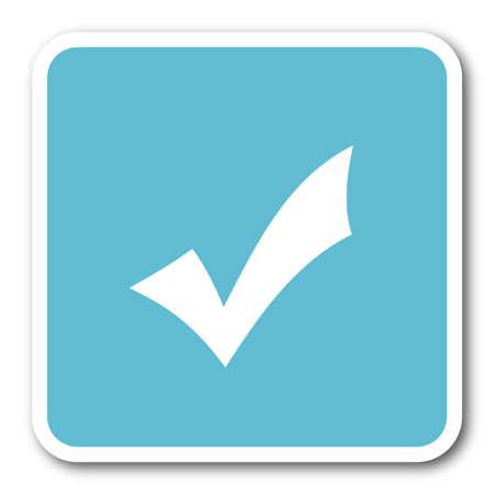 to accept: accept blue square internet flat design icon