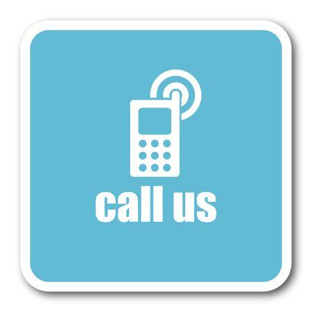 call us: call us blue square internet flat design icon Stock Photo
