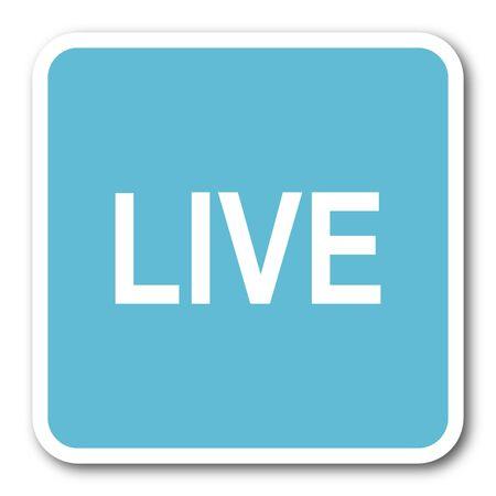 web cast: live blue square internet flat design icon Stock Photo