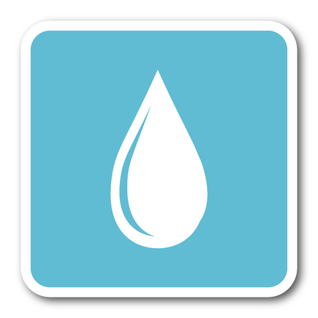 drinkable: water drop blue square internet flat design icon