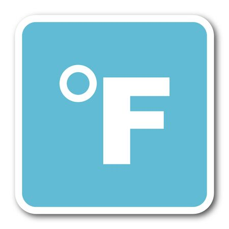 fahrenheit: fahrenheit blue square internet flat design icon Stock Photo