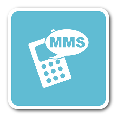 mms: mms blue square internet flat design icon
