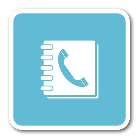 phonebook: phonebook blue square internet flat design icon