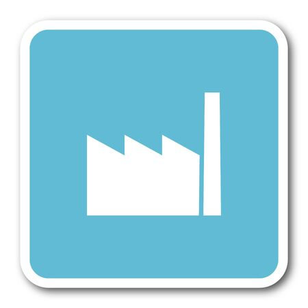 industrial complex: factory blue square internet flat design icon