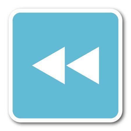 rewind: rewind blue square internet flat design icon