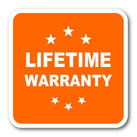 lifetime: lifetime warranty orange flat design modern web icon Stock Photo
