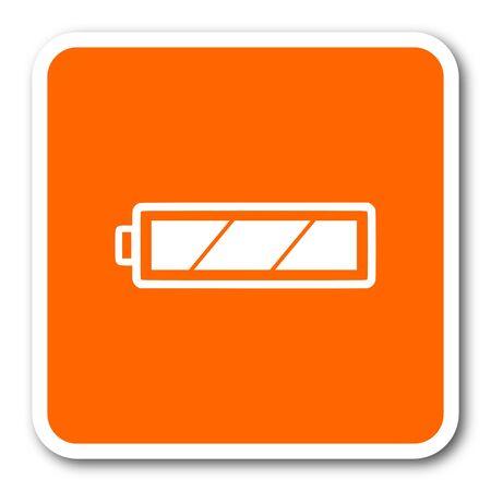 accuse: battery orange flat design modern web icon