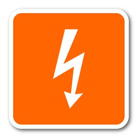 high voltage symbol: bolt orange flat design modern web icon Stock Photo