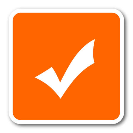 yea: accept orange flat design modern web icon