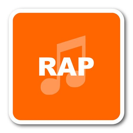 rap music: rap music orange flat design modern web icon Stock Photo