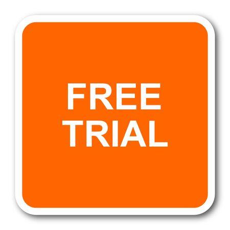free trial: free trial orange flat design modern web icon